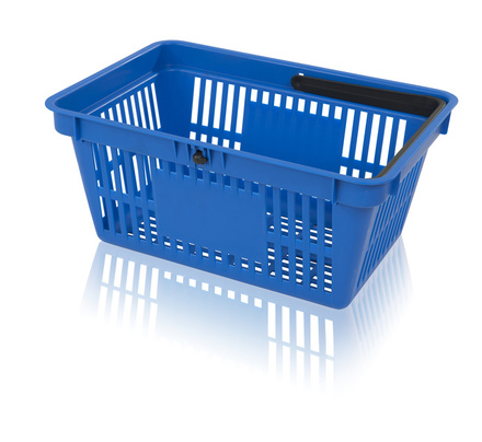 Shopping basket with 1 handle surface for printing