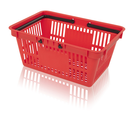 Shopping basket with 2 handle surface for printing