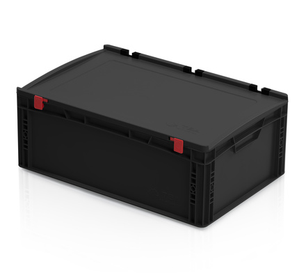 ESD Euro containers with lid 60x40x23.5 cm