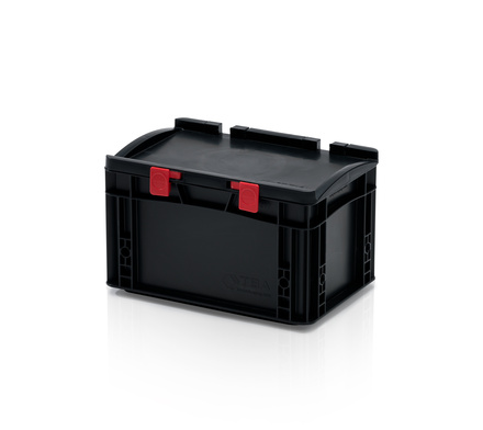 ESD Euro containers with lid 30x20x18,5 cm