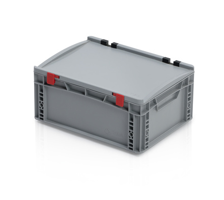 Euro container with lid 40x30x18,5 cm closed handles
