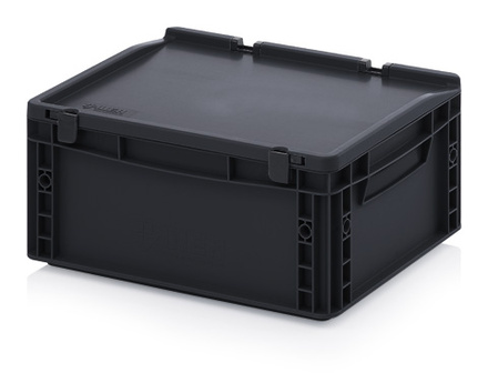 ESD Euro containers with lid 40x30x18,5 cm