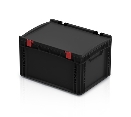 ESD Euro containers with lid 40x30x23,5 cm