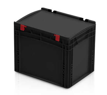 ESD Euro containers with lid 40x30x33,5 cm