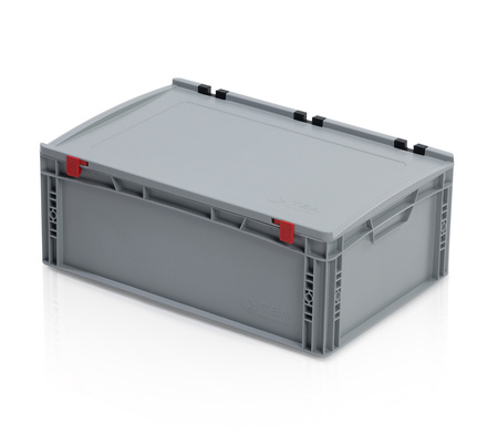 Euro container with lid 60x40x23,5 cm closed handles