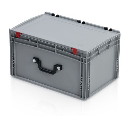 EURO container with lid 60*40*33,5 + 1 handle on the long side