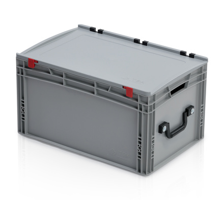 EURO container with lid 60*40*33,5 + 1 handle on the short side