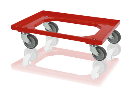 Crate dolly 4 steering wheels - red