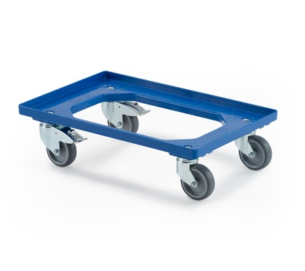 Transport trolley 2 fixed castors, 2 steering castors with wheel stop