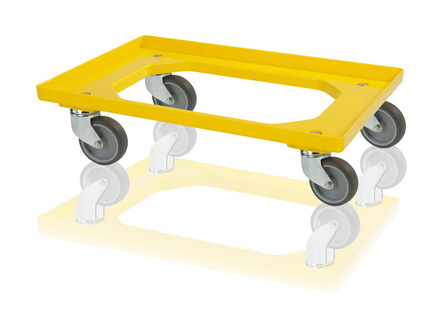 Transport trolley 4 steering wheels - yellow