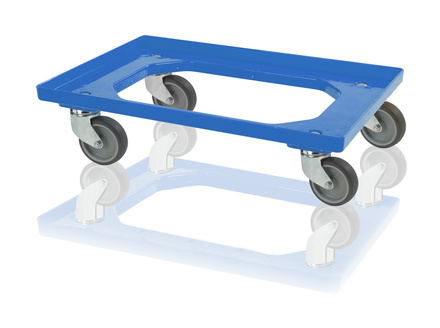 Transport trolley 2 steering castors, 2 fixed castors - blue