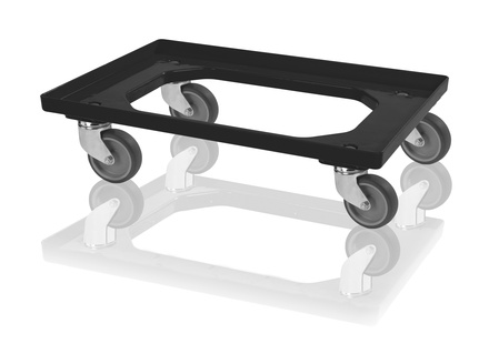 Transport trolley 2 swivel wheels - black