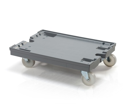 Crate dolly 80x60cm - 2 steering polyamide wheels 125 mm